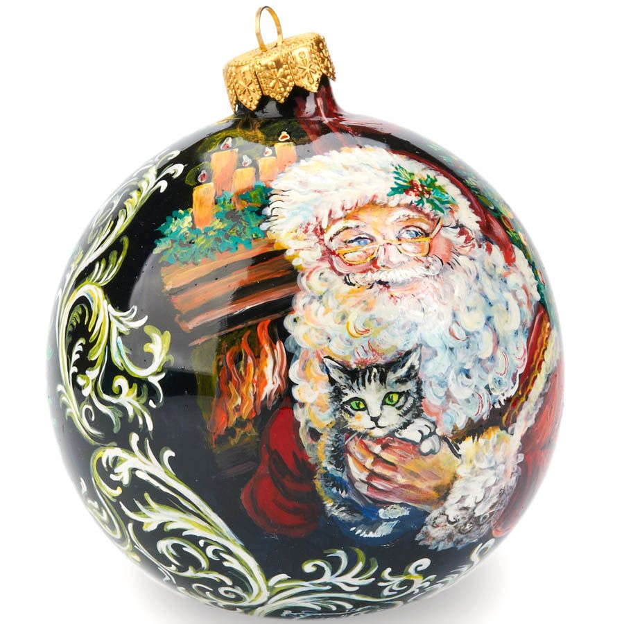 Елочный шар FaVareli Дедушка Мороз с котенком с ручной росписью