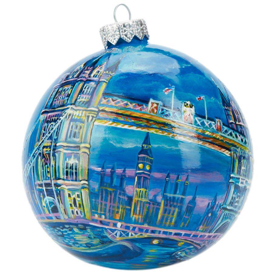 Елочный шар FaVareli Лондон с ручной росписью