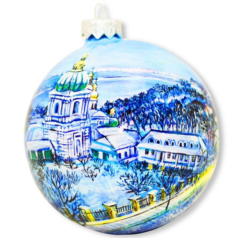 Елочный шар FaVareli Зимняя Лавра с ручной росписью