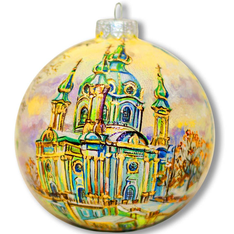 Елочный шар FaVareli Андреевская церковь в золоте с ручной росписью