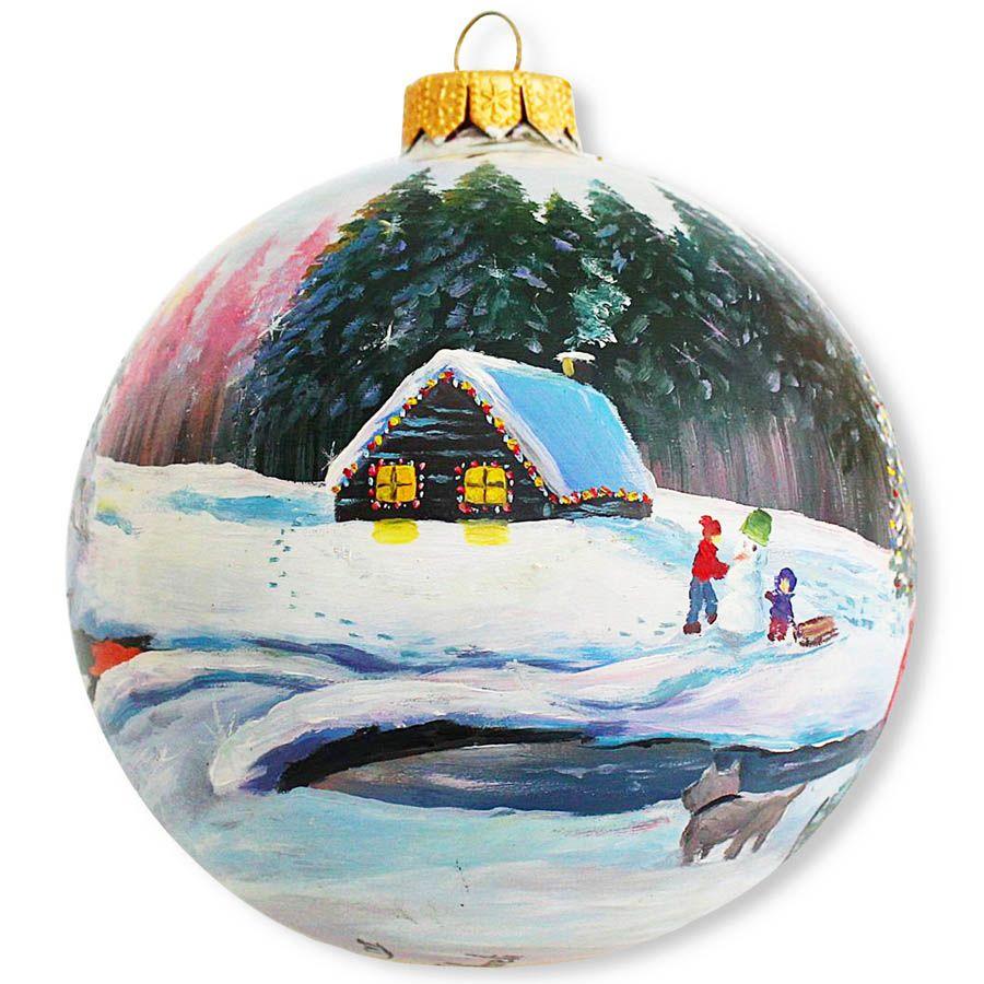 Елочный шар FaVareli Зимние забавы с ручной росписью
