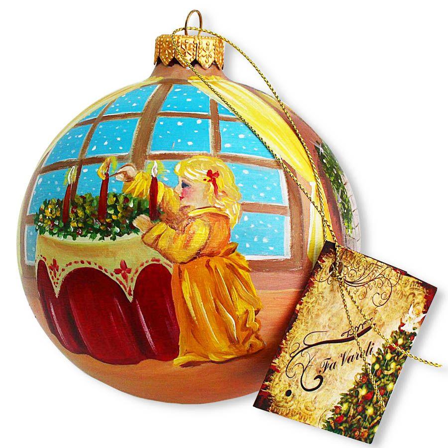 Елочный шар FaVareli Загадывая желания с ручной росписью