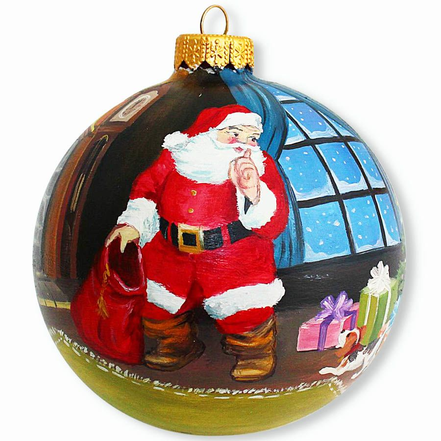 Елочный шар FaVareli Загадочный Санта с ручной росписью