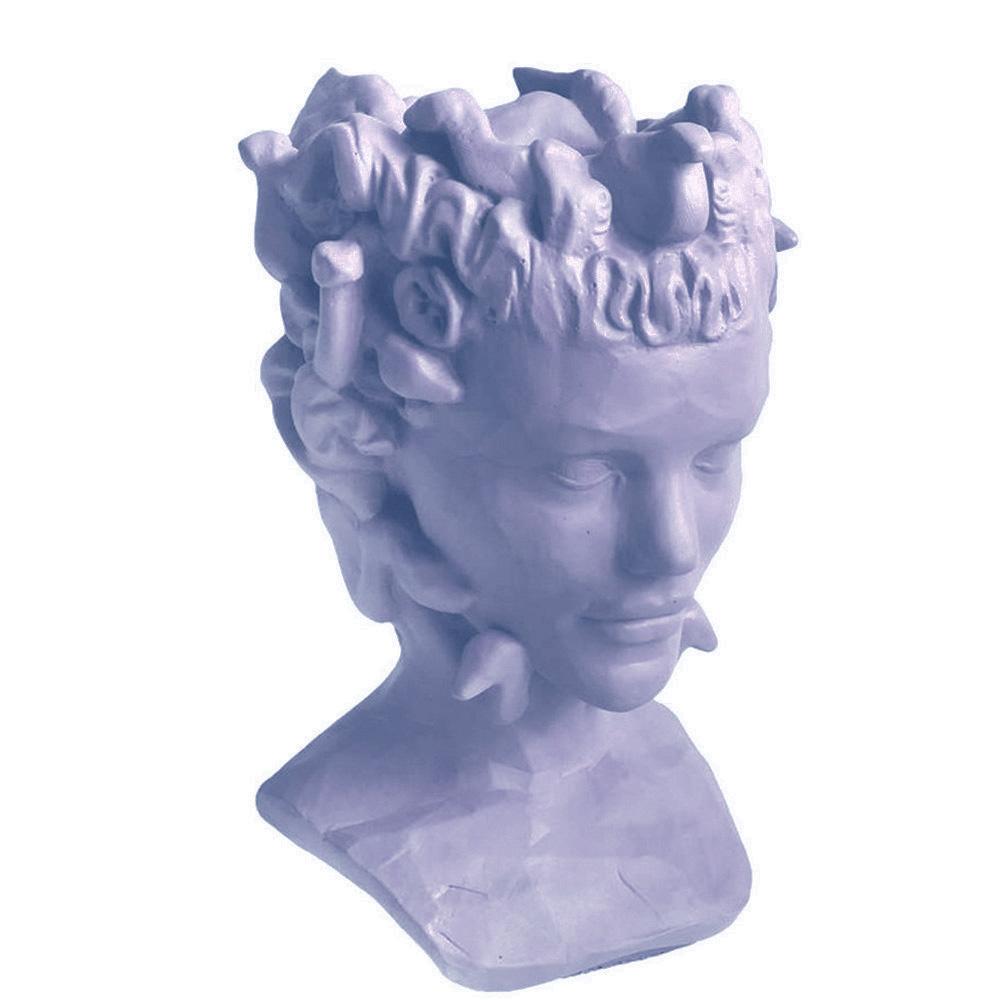 Голубая ваза-органайзер Vase Head Горгона ручной работы