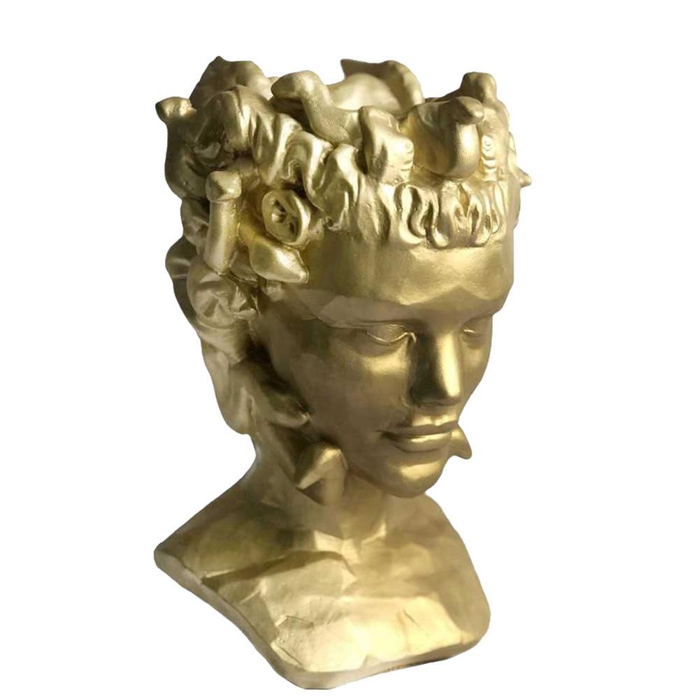 Ваза-органайзер Vase Head Горгона золотистого цвета