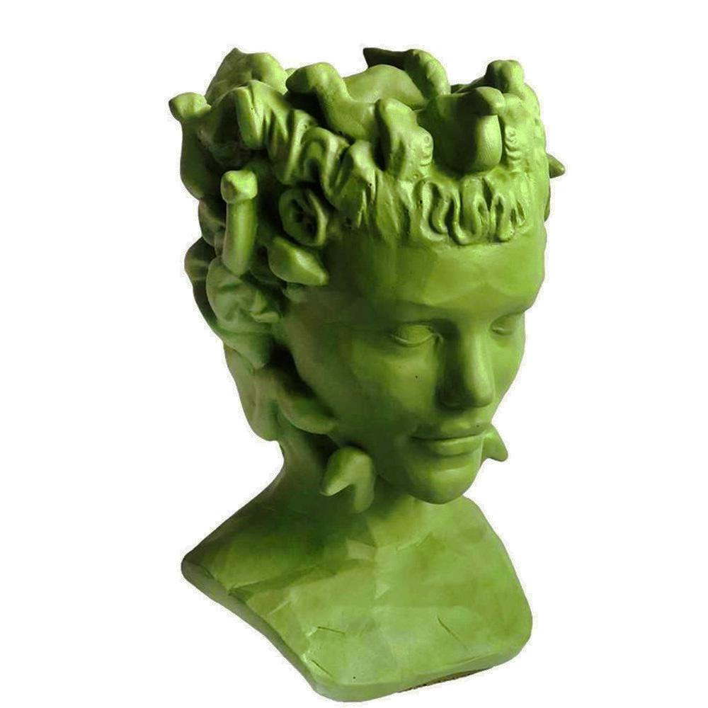 Ваза-органайзер Vase Head Горгона в салатовом цвете