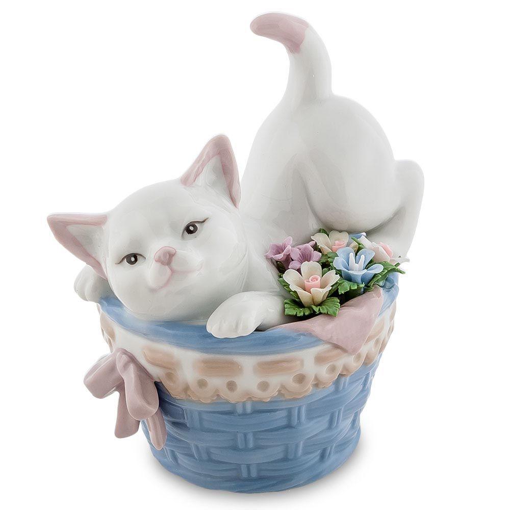 Фарфоровая фигурка Pavone JP Котенок в корзине с цветами