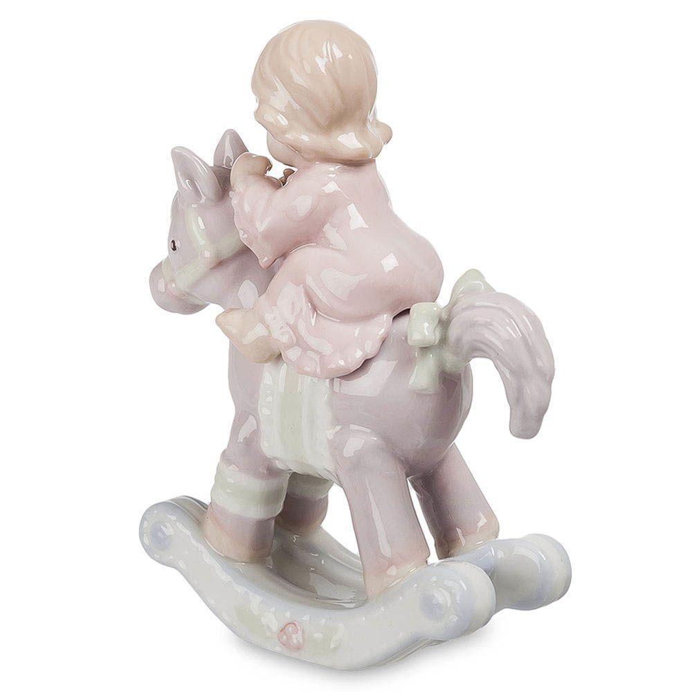 Фигурка Pavone JP Девочка на лошадке розовая