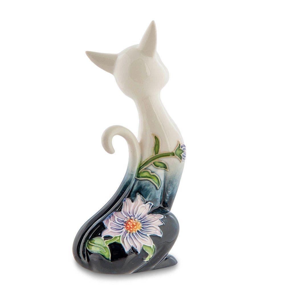 Фарфоровая статуэтка Pavone JP Design Кошка в зеленых тонах