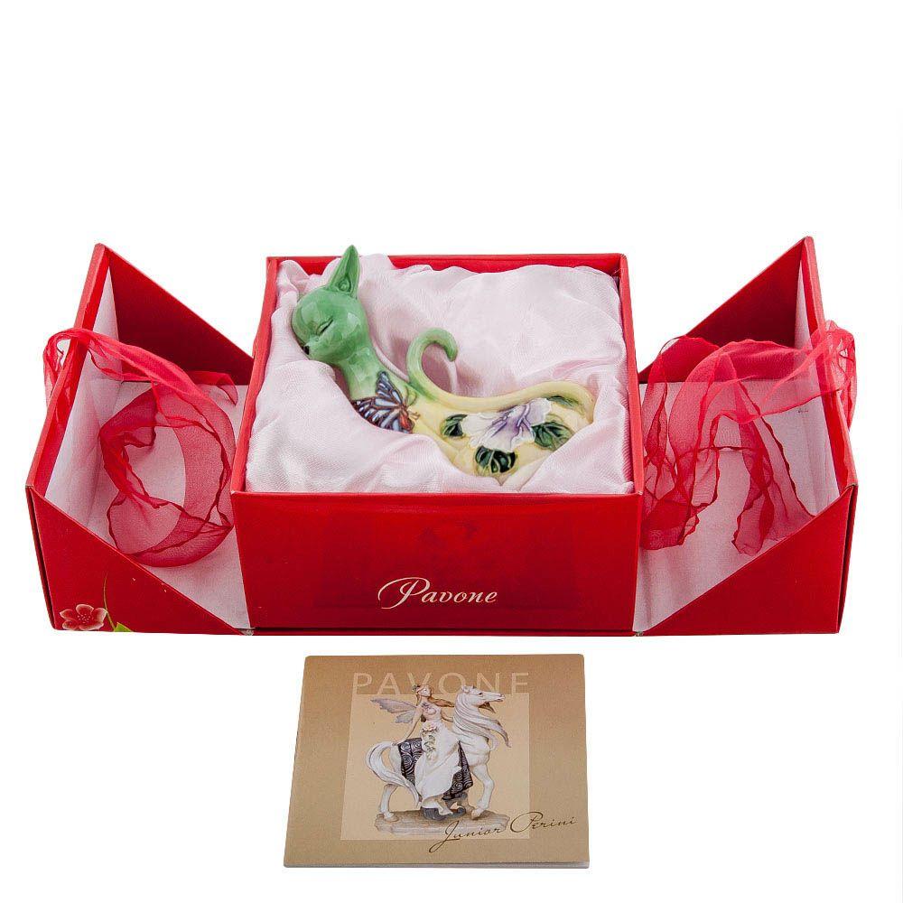 Статуэтка из фарфора Pavone JP Design Кошка с цветочной росписью