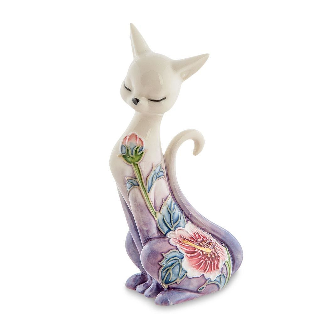 Фарфоровая статуэтка Pavone JP Design Кошка с градиентом от белого к фиолетовому