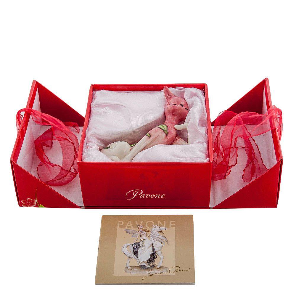 Статуэтка из фарфора Pavone JP Design Кошка розового цвета