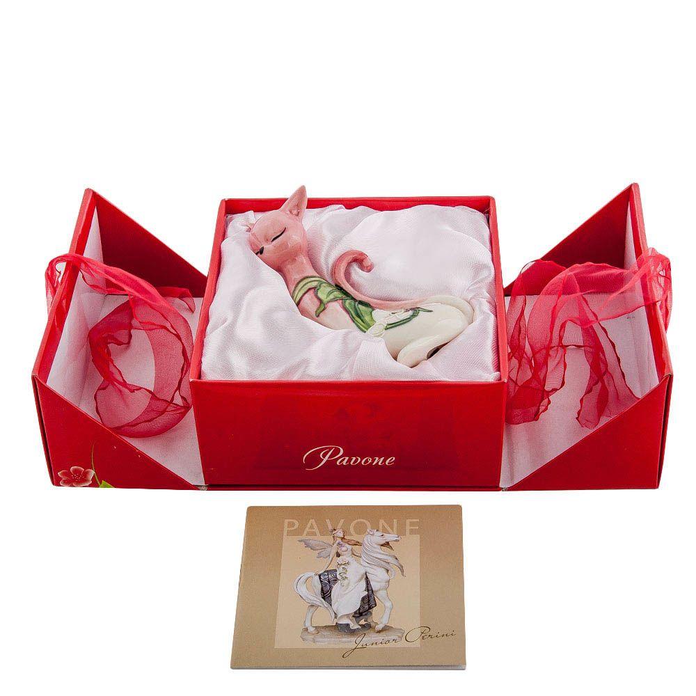 Статуэтка из фарфора Pavone JP Design Кошка с градиентом от розового к белому