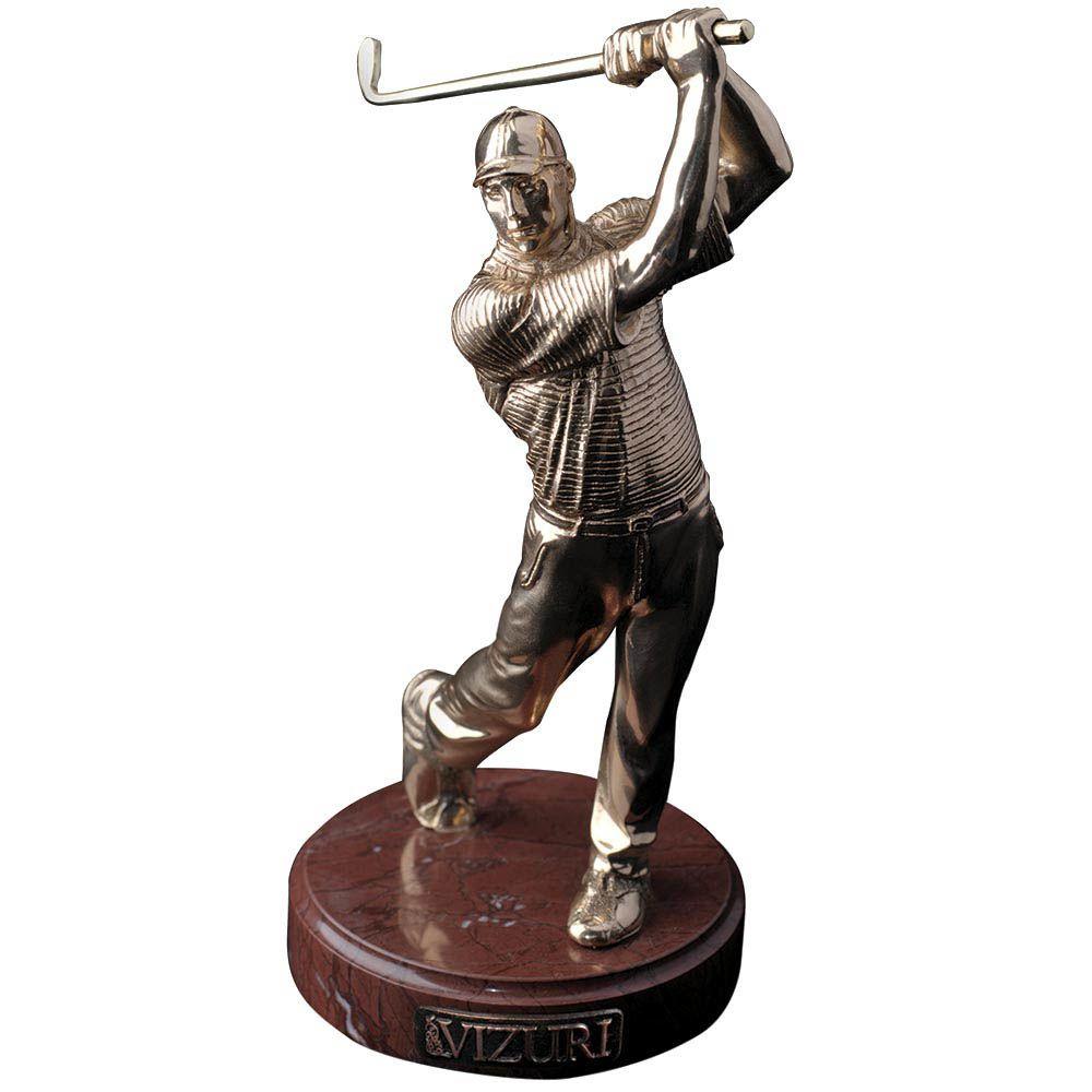 Скульптура Vizuri Игрок в гольф позолоченная