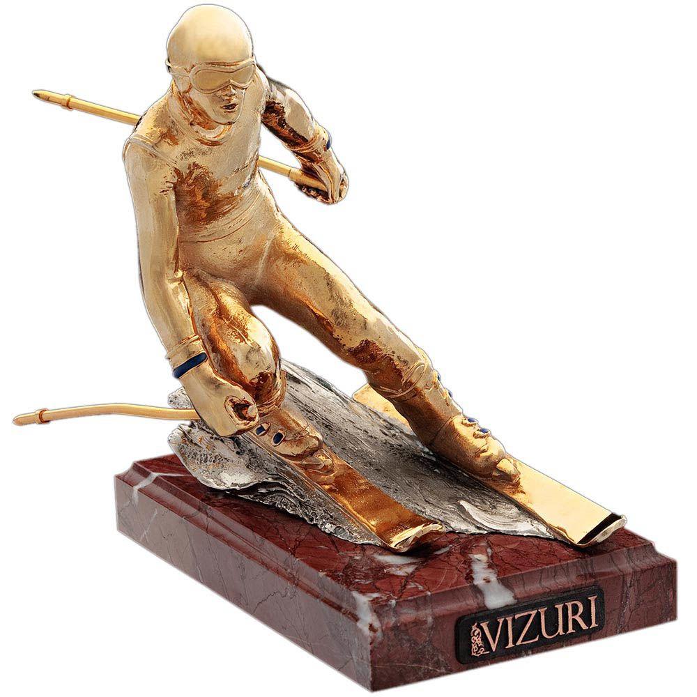 Скульптура Vizuri Горнолыжник позолоченная