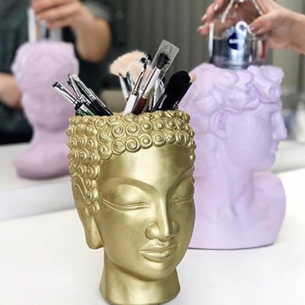 Декоративная ваза-органайзер Vase Head Будда золотистого цвета, фото