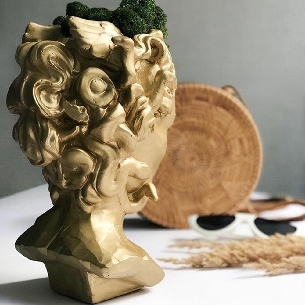 Ваза-органайзер Vase Head Горгона золотистого цвета, фото
