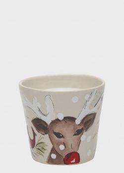 Свеча в стакане из керамики Casafina Deer Friends, фото