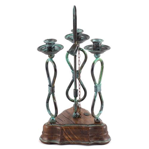 Подсвечник Capanni на три свечи с металлическим плетением, фото