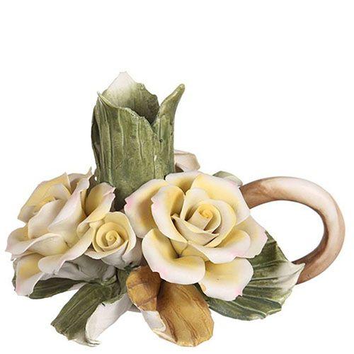 Подсвечник из фарфора Желтые розы, фото
