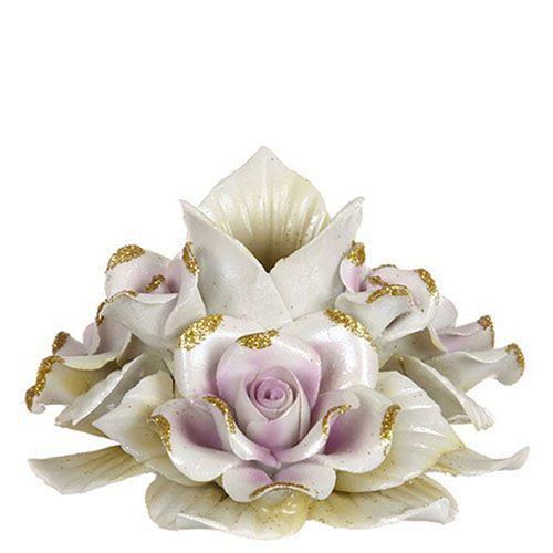 Подсвечник из фарфора Белые розы, фото
