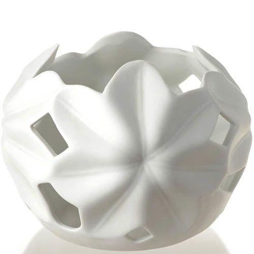 Большой подсвечник Eterna белый ажурный цветочный, фото