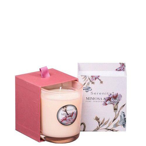 Ароматическая свеча Serenity Мимоза и розы в подарочной коробке, фото