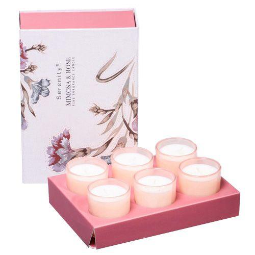 Набор из 6 аромасвечей Serenity Мимоза и розы в подарочной коробке, фото