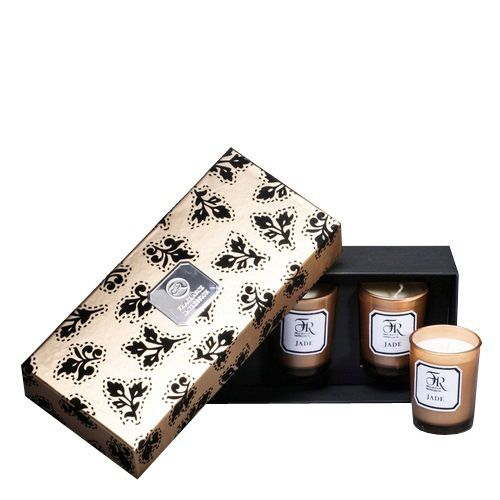 Набор из 3 аромасвечей Serenity Jade Gold в подарочной коробке, фото