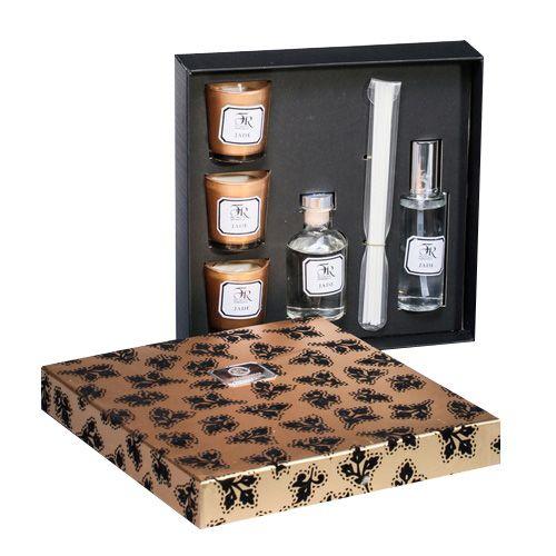Подарочный набор аромадиффузоров и свечей Serenity Jade Gold премиум, фото