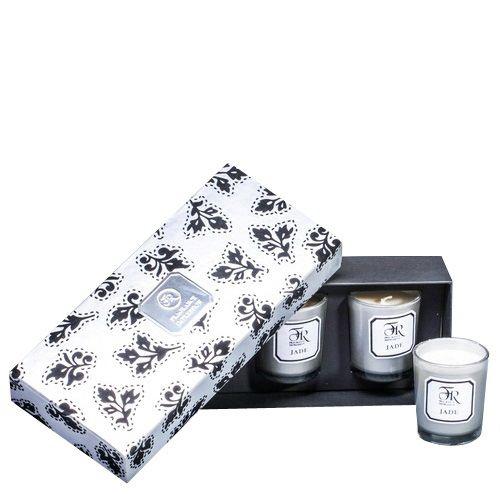 Набор из 3 аромасвечей Serenity Jade Silver в подарочной коробке, фото