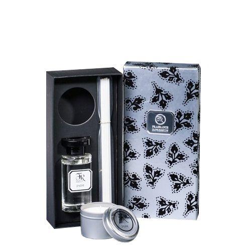 Ароманабор диффузор со свечой Serenity Jade Silver 100 мл в подарочной коробке, фото