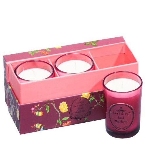 Набор из 3 аромасвечей Serenity Базилик и мандарин в подарочной коробке, фото
