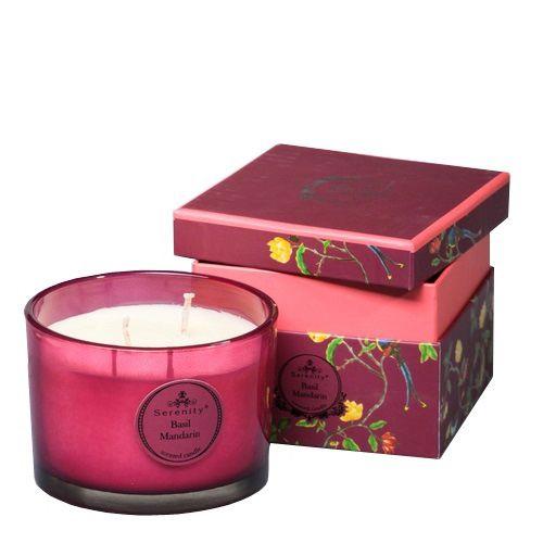 Ароматическая свеча Serenity Базилик и мандарин в подарочной коробке, фото