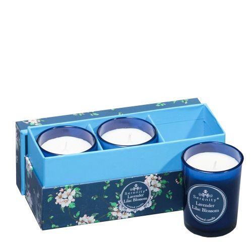 Набор из 3 аромасвечей Serenity Лаванда и сирень в подарочной коробке, фото