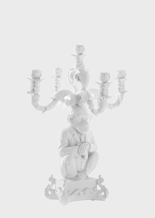 Белый подсвечник Seletti Шимпанзе на 5 свечей