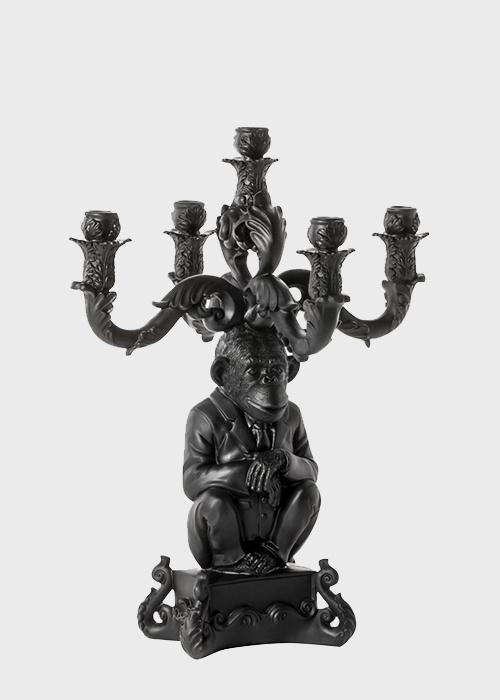 Черный подсвечник Seletti Шимпанзе на 5 свечей