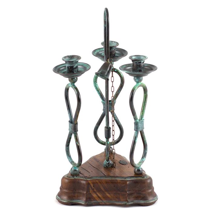 Подсвечник Capanni на три свечи с металлическим плетением