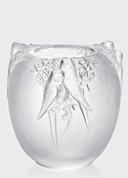 Хрустальная ваза Lalique Perruches с рельефным дизайном, фото