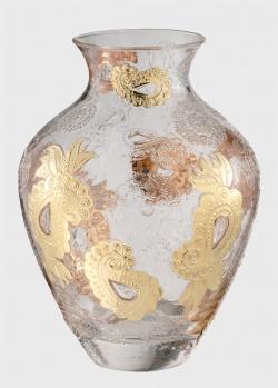 Стеклянная ваза IVV Pashmina 30,5см с золотистым узором, фото