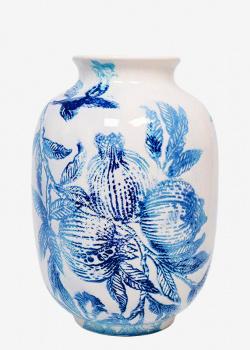 Настольная ваза Villa Grazia Вечерний гранат с акварельным рисунком 32см, фото