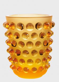Ваза янтарного цвета Lalique Mossi Amber с выпуклостями, фото
