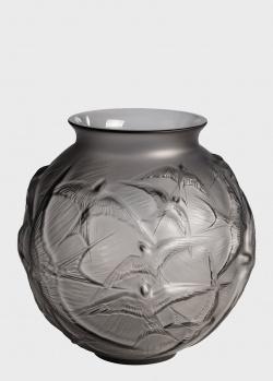 Серая ваза Lalique Hirondelles с ласточками, фото