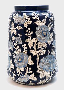 Синяя ваза Mastercraft из керамики с цветочным орнаментом, фото