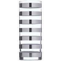 Ваза Egizia Tratto Silver 30см с зеркальными кольцами, фото