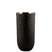 Ваза Ceramika Design Xago черного цвета с золотистым орнаментом, фото