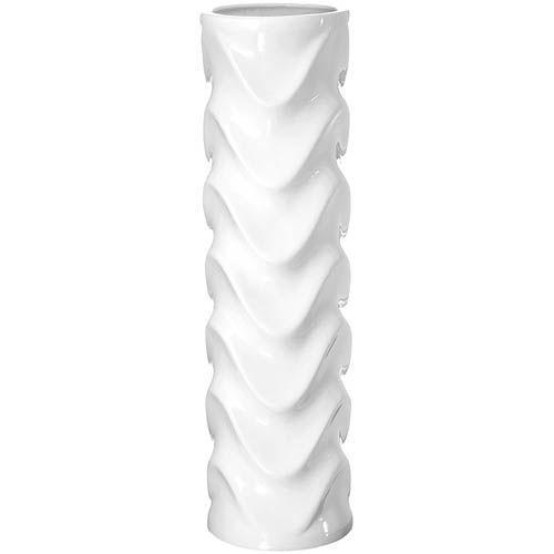 Белая рельефная ваза-цилиндр Eterna Волна глянцевая высокая 40 см, фото