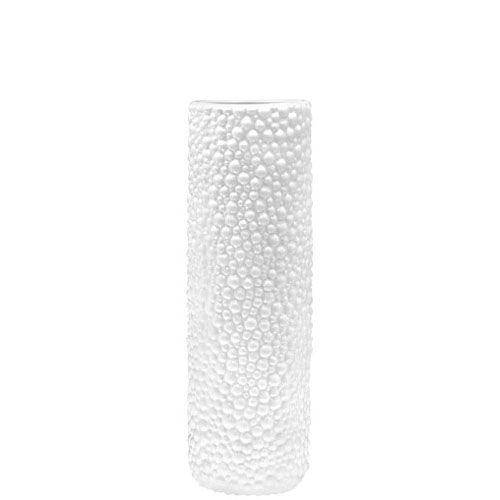 Высокая белая ваза-цилиндр Eterna Этна керамическая фактурная глянцевая 48 см, фото