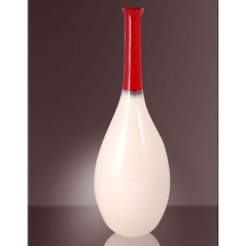 Ваза Modern Art интерьерная белая с красным горлышком, фото