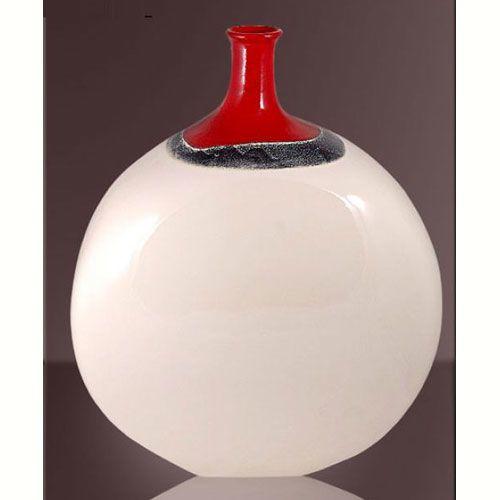 Ваза интерьерная Modern Art белая с красным горлышком , фото